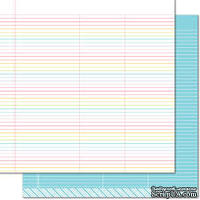 "Лист скрапбумаги от Lawn Fawn - Really Rainbow Double-Sided Cardstock 12""X12"" True Blue, 30х30 см"