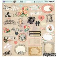 ЦЕНА СНИЖЕНА! Лист наклеек из чипборда Prima - Something Blue - Chipboard Pieces