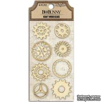 Деревянные украшения BoBunny - Kraft Laser-Cut Wood Embellishments Gears