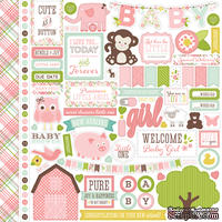 Лист наклеек от Echo park - Bundle Of Girl Collection - A New Addition Alpha Sticker, 30 х 30 см