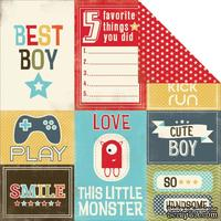 Лист скрапбумаги Carta Bella - Boy Oh Boy - Journaling Cards, двусторонняя, 30х30 см