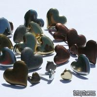 Набор брадсов Eyelet Outlet - Anodized Heart Brads, 30 штук