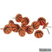Набор брадсов Eyelet Outlet - Ball Brads Basketballs, 12 штук