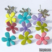 Набор брадсов Eyelet Outlet - Stitched Flower Brads - Bright, 12 штук