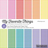 Набор бумаги My Favorite Things - Tiny Check Brights Paper Pack, размер 15х15 см, 24 листа.