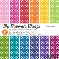 Набор бумаги My Favorite Things - Tiny Hearts Brights Paper Pack, размер 15х15 см, 24 листа.