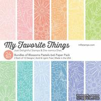 Набор бумаги My Favorite Things - Bundles of Blossoms Pastels Paper Pack, размер 15х15 см, 24 листа.