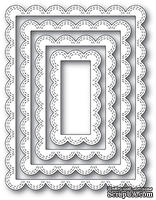 Нож для вырубки от Poppystamps - Double Stitch Scalloped Rectangle Frames - ScrapUA.com