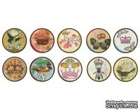 Украшения Bottle Cap Images - 1 inch  - Birds and Crowns