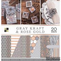 Набор бумаги DCWV - Gray Kraft and Rose Gold, 30х30 см, 20 листов