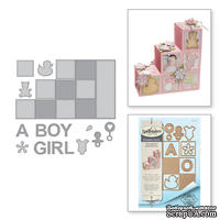 Ножи от Spellbinders – Shapeabilities Baby Step Block Card Etched Dies Thoughtful Expressions by Marisa Job