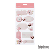 Наклейки от American Crafts - Pebbles Stickers - New Addition Girl - Dimensional Phrases & Icons
