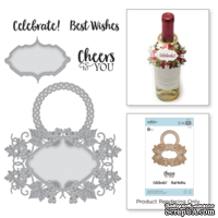 Ножи для вырубки + штампы от Spellbinders - Vineyard Wine Bottle Tag Stamp and Die Set.
