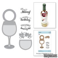 Ножи для вырубки + штампы от Spellbinders - Wine Glass Bottle Tag Stamp and Die Set