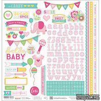 Наклейки от Paper House - Hello Baby Cardstock Stickers - Pink Girl, 30x30 см