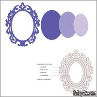 Лезвия от Sizzix - Framelits Die Set- Frame, Oval w/Ornate Edges, 3 шт