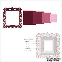 Лезвия от Sizzix - Framelits Die Set - Frame, Square w/Ornate Edges, 4 шт