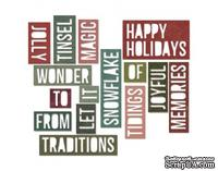 Лезвие от Sizzix - Tim Holtz - Thinlits Die Set 16PK - Holiday Words 2 - Block by Tim Holtz, 15 штук