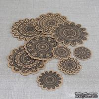 Набор высечек от Maya Road -  Kraft Collection - Doilies - Black, 10 шт.