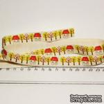Лента от Thailand - Lovely Tree And House Print Cotton Ribbon Label String, 1 метр - ScrapUA.com