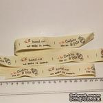 Лента от Thailand - Pink Happy Handmade Print Cotton Ribbon Label String, 1 метр - ScrapUA.com