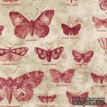 Ткань 100% хлопок - Tim Holtz Eclectic - Butterflies-Red, 45х55 см - ScrapUA.com